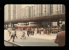 Mei Foo street scene... 1970s... check out the retro double deckers...