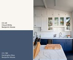 Two Tone Cabinet Paint Color. Upper cabinets paint color is Cloud White by Benjamin Moore. Lower cabinets paint color is Kensington Blue CC-780 by Benjamin Moore.