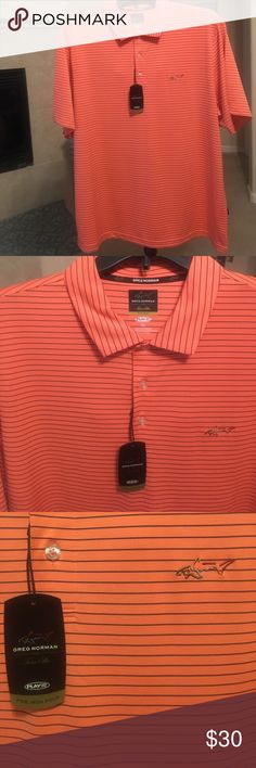 """Greg Norman For Tasso Elba """"5 Iron"""" Drifit Polo PlayDry moisture wicking fabric and UPF sun protection make the 5 Iron striped performance polo from Greg Norman for Tasso Elba a winning combo of fashion and function.  NWT Size XL Tasso Elba Shirts Polos"""