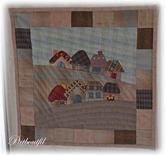 Petites maisons... - Un petit bout de fil... Quilts, Appliques, Painting, Couture, Free, Scrappy Quilts, Scrap, Houses, Wire