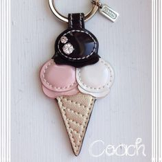 Coach Key Chain Ring Fob~NWT~Authentic~Ice Cream KEYᑕᕼᗩIᑎᔕ ᗰᗩKE GᖇEᗩT GIᖴTᔕ!Coach Neapolitan Ice Cream Cone Leather Keychain~NWT~~~No Trades Coach Accessories