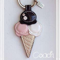 Coach Key Chain Ring Fob~NWT~Authentic~Ice Cream KEYᑕᕼᗩIᑎᔕ ᗰᗩKE GᖇEᗩT GIᖴTᔕ!Coach Neapolitan Ice Cream Cone Leather Keychain~NWT~~~No Trades Coach Accessories
