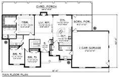 Traditional Style House Plan - 3 Beds 2.5 Baths 1797 Sq/Ft Plan #70-979 Floor Plan - Main Floor Plan - Houseplans.com