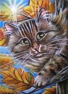 Maine Coon Cat Autumn Painting