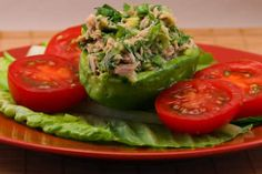 Tuna Stuffed Avacado Salad w/tomatoes, cilantro & lime