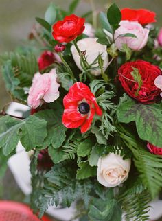 Love this mix of Pink & Red Roses and Red Anemones for Wedding Flowers | See more on Style Me Pretty: http://www.StyleMePretty.com/2014/02/14/valentines-day-love-notes-shoot/ Katie Parra Photography