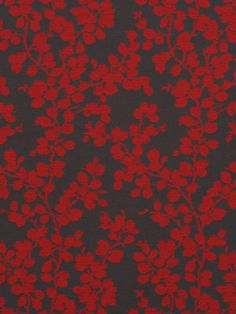 Red Grey Upholstery Fabric    Modern Red Floral by PopDecorFabrics