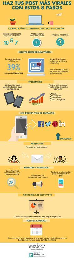 8 pasos para hacer tus post más virales #infografia #infographic