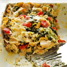 Chicken Caesar Lasagna  Are you ready for a lasagna revolution? We loaded this lasagna recipe with roasted red sweet peppers, Alfredo sauce, and lemon-pepper seasoning to create a brand-new blend of flavors. Chicken helps make this easy lasagna a low-fat option. $2.14 per serving