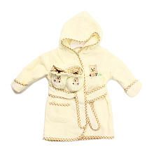 SpaSilk 100% Terry Robe and Bootie Set  Ivory Bear (09 Months)