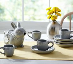 Ceramic Bunny Tea Set // Tea parties will be sweeter with this precious cottontail teapot and bunny ear teacups. The set makes a charming gift for the child who loves bunnies.