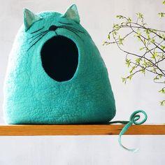 Katze-Bett/Cat-Höhle/Katze Haus/Felted Katze cave
