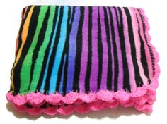 Neon Rainbow Tiger Striped Animal Print Blanket by AddSomeStitches, $30.00 #etsy #dteam #onfireteam