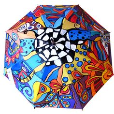 Hand Painted colorfull Umbrella with Abstract Illustration