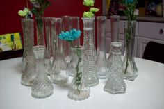 Clear Glass Vintage Bud Vase Collection/ by UpcycledCottageDecor