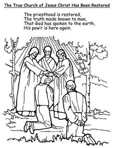 """""""Lesson Jesus Christ's Church Has Been Restored,"""" Primary 3 Restoration of the Church Coloring Page I compiled a couple of elements f. Nursery Activities, Primary Activities, History Activities, Lds Church, Church Ideas, Lds Primary Lessons, Primary Talks, Lds Coloring Pages, Colors"""