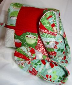 Snappy Slippers & Travel Bag from Cool Cat Creations in Christmas fabrics.