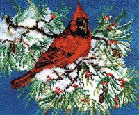 """Cardinal 30x36"""" kit as shown. Comes complete with easy to follow, full color graph instruction book, Latch hook blue lined 3.75 mesh canvas (for easy counting and perfect rugs every time) and 100% acrylic pre-cut rug yarn"""