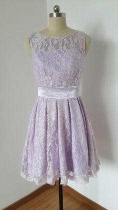 2015 Scoop Lilac Lace Short Bridesmaid Dress c3574e665be3