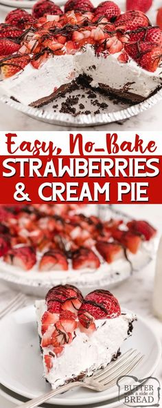 Strawberries and Cream Pie is a delicious no-bake pie recipe that is light and refreshing and so easy to make! Sweet cream cheese filling in an Oreo crust, topped with tons of fresh strawberries! Strawberry Cream Pies, Strawberry Desserts, Lemon Desserts, Cookie Desserts, No Bake Desserts, Easy Desserts, Cream Pie Recipes, Tart Recipes, Best Dessert Recipes