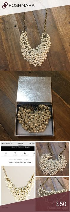 J.Crew Pearl Cluster Bib necklace Amazing statement in necklace that deserves to be worn! Only worn once to a wedding, and haven't had an occasion to wear this since. Cluster of pearls and sparkly stones . All stones and pearls intact J. Crew Jewelry Necklaces