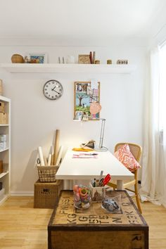 before & after - junk room to craft room.