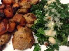 Italian sausage & sweet potato hash w/ cooked kale and béchamel sauce.  Very tasty dinner!