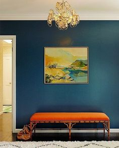 Bold and beautiful blue and orange entryway | Redmond Aldrich