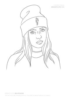 Billie Eilish - Famous Coloring Pages - Dessin Art Drawings Sketches Simple, Pencil Art Drawings, Easy Drawings, Cute Drawings Tumblr, Tumblr Sketches, Hipster Drawings, Drawing Drawing, Billie Eilish, Dibujos Zentangle Art