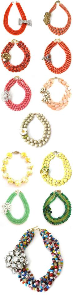 With funky flair, feminine touches and bright colors, these beautiful baubles from Elva Fields would make great adornments