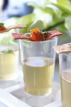 Art of Cooking's Clear Vegetables Gazpacho with Molecular Tomato Caviar is always a refreshing and delicious #appetizer when summertime is coming. #catering #lasvegas