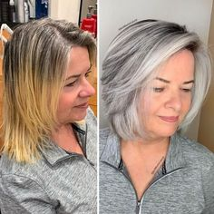 Grey Hair Transformation, Curly Hair Styles, Natural Hair Styles, Grey Hair Inspiration, Gray Hair Highlights, Grey Hair Lowlights, Transition To Gray Hair, Silver Hair, Hair Looks
