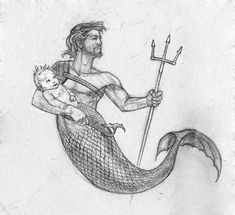 Cara Nilsen Merman with Merbaby Fantasy Creatures, Mythical Creatures, Sea Creatures, Fantasy Mermaids, Mermaids And Mermen, Mermaid Drawings, Mermaid Paintings, Mermaid Tattoos, Mermaid Man