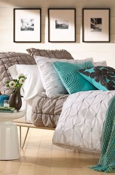 It's all about alluring texture. #Nordstrom #Home   make white or off white puffy quilt and tie with aqua thread