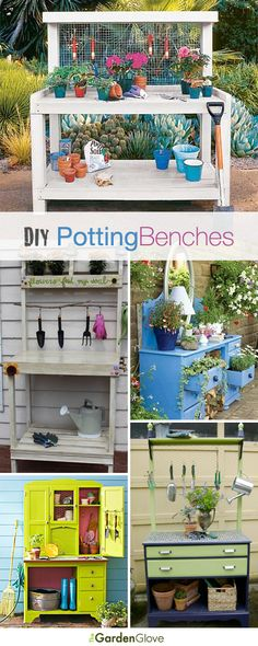 DIY Potting Benches • Lots of Ideas & Tutorials! Garden Table, Diy Garden, Garden Crafts, Garden Art, Dream Garden, Garden Design, Lawn And Garden, Garden Projects, Garden Landscaping