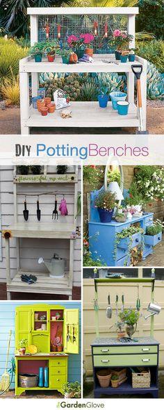 DIY Potting Benches • Lots of Ideas  Tutorials!
