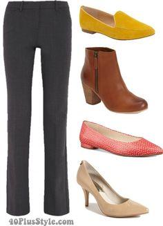 bootcut pants best shoes flats heels boots | 40plusstyle.com