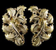 Tortolani Signed Earrings Vintage Pewter with Gold Finish and Enamel | eBay