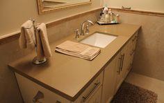 Caesarstone man-made quartz vanity top in Mocha colour #caesarstone #mocha #vanity