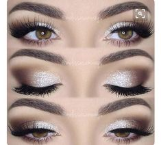 This eye makeup goes perfectly with the dress. The eyeshadow goes from silver to a darker brown/nude color. Because the eyeshadow is so vibrant, the fake long eyelashes can only complete the whole charming look. #eyeshadowslooks
