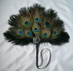 Glamorous Black Ostrich and Peacock Feather Jewelled Burlesque Wedding Hand Fan