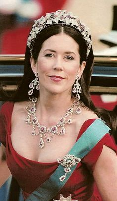 A Tiara a Day-- HRH Crown Princess Mary of Denmark wearing the ruby and diamond parure that was Crown Prince Frederick's grandmothers.