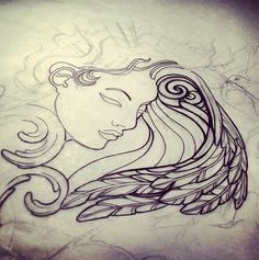 Angel tattoo sketch by India