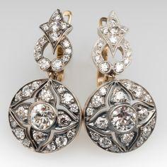 Victorian Dangle Earrings Old European Cut Diamonds & Engravings