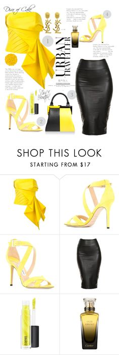 """Yellow & Black"" by Diva of Cake on  Polyvore featuring Rubin Singer, Jimmy Choo, Yves Saint Laurent, Perrin, MAC Cosmetics, Cartier and Illamasqua"