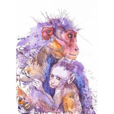 Monkey art, mother and child, watercolor, monkey gift, animal nursery prints… Watercolor Animals, Watercolor And Ink, Watercolor Paintings, Watercolor Portraits, Paint Monkey, Monkey Art, Art And Illustration, Illustrations, Animal Nursery