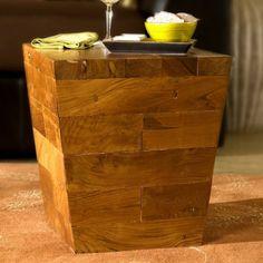 Couchtisch cube holzblock tisch for Beistelltisch c form