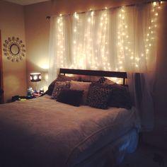 Homemade headboard, curtains, lights. Weekend project!