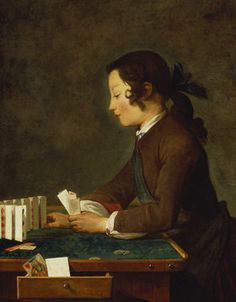 Jean-Baptiste Siméon Chardin: Junges Mädchen (junger Knabe?) baut ein Kartenhaus.