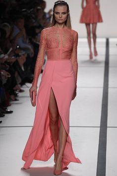 Coral lace dress with thigh high slit from Elie Saab's Spring 2014 Ready-to-Wear Collection Slideshow on Style.com